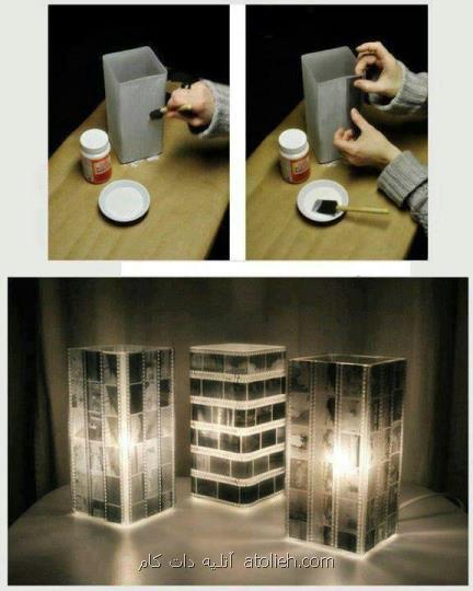 ساخت آباژور یا جاشمعی با استفاده از طلق و تزئین آن با فیلم های <a href='http://www.atolieh.com/tag/دوربین'>دوربین</a> <a href='http://www.atolieh.com/tag/عکاسی'>عکاسی</a> های قدیمی